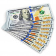 Stock Photo: New 100 US dollar banknotes