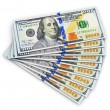 New 100 US dollar banknotes — Foto Stock