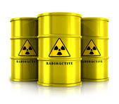Yellow barrels with radioactive waste — Stockfoto