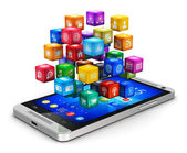 Smartphone with cloud of icons — Stock Photo