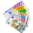 Set of Euro banknotes and coins — Stock Photo #35732421