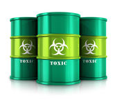 Green barrels with toxic substances — Foto Stock