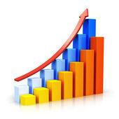 Growing bar charts with arrow — Stock Photo