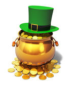 Pot of Gold and green Leprechaun hat — Stock Photo