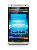 Login screen on smartphone — Stock Photo
