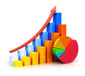 Growing bar graphs and pie chart — Stock Photo
