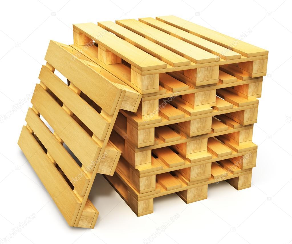 Baixar Pilha de paletes de transporte de madeira — Imagem de Stock  #B87D13 1024x853