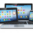 Laptop, tablet PC and smartphone — Stock Photo
