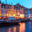 Evening scenery of Nyhavn in Copenhagen, Denmark — Stock Photo #43107479