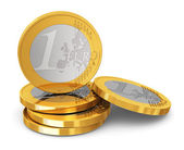 Stack of one Euro coins — Stock Photo