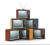 Stack of old TV — Stock Photo