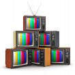 Stack of old color TV — Stock Photo