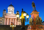 Senate Square at night in Helsinki, Finland — Stock Photo