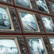 Wall of old TV screens — Stock Photo #47583435