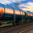 Freight train with petroleum tankcars — Stock Photo #48210967