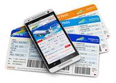 покупка авиабилетов онлайн — Стоковое фото