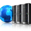 Network servers and Earth globe — Stock Photo #7421352