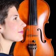 Woman and violin - Stock Photo