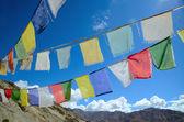 буддийские молитвы флаги в гималаях — Стоковое фото