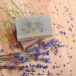 Soaps and lavender — Stock Photo