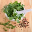 Mortar with herbs — Stock Photo