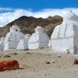 Stock Photo: White buddhist chortens