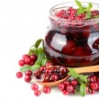 Cowberry jam in jar — Stock Photo