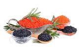 Svart och röd kaviar — Stockfoto