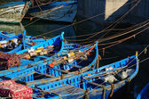 Blue boats in a port — Stock Photo