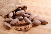 Sack bag  with nuts — Stock Photo
