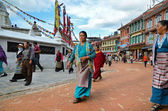 Kora around Boudhanath Stupa — Stock Photo