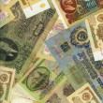 Old soviet russian money background — Stock Photo #6042134