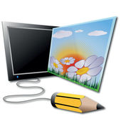 Lapiz y tableta gráfica — Foto de Stock