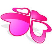 粉红色的心 — 图库矢量图片