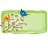 Spring and birds — Stok Vektör