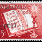 澳大利亚-大约 1960年打开的圣经 — 图库照片