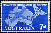 AUSTRALIA - CIRCA 1957 Caduceus and Map — Stock Photo
