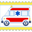 Ambulance postage stamp — Stock Vector
