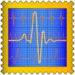 Cardiogram on stamp - Stock Vector