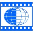 Globe in film frame — Stock Vector