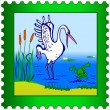 Stork and Frog postage stamp — Vettoriali Stock
