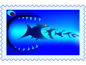 Fish predators stamp — Stock Vector