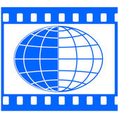 Globe in film frame — Stock Vector