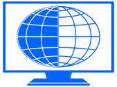 Globe in TV — Stock Vector