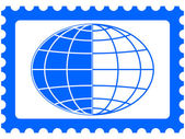 Globe on stamp — Stock Vector