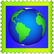 Stock Vector: Globe on the postage stamp