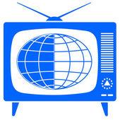 Globe in the retro TV — Stock Vector