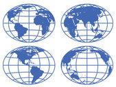 Mappe del globo — Vettoriale Stock