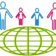 People and globe — Imagen vectorial