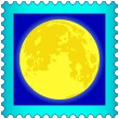 Stock Vector: Moon on postage stamp